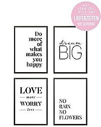 Heimlich ® Premium Poster Set | Stilvolles Set mit passenden Bilder in Schwarz-Weiß | 4 Stück in DIN A4 (21x30cm) | Ohne Bilderrahmen » Love More «