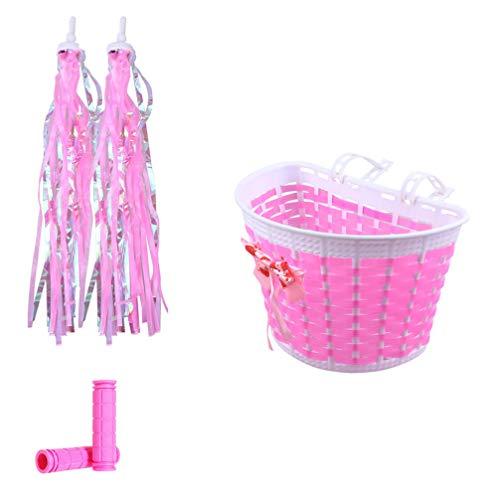 VORCOOL Kid Bike Basket Streamers - Juego de manillares para bicicleta, cesta para niños, accesorios para bicicleta, regalo para niños (rosa)