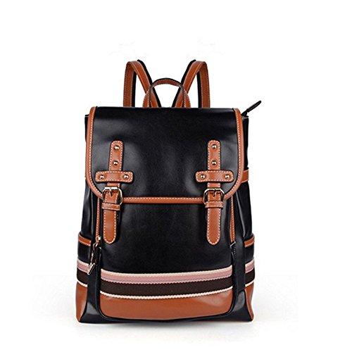 jecxep Borsa Fashion Vintage Zaino College Students Schoolbag, SP-2243-Black