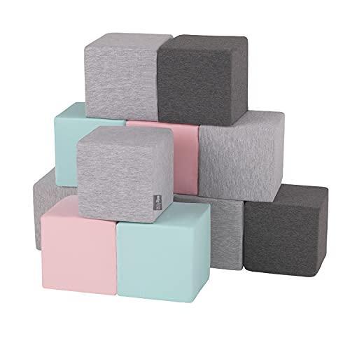 KiddyMoon Blocs Mous pour Bébé 12 Pièces Cubes De Construction en Mousse 14Cm, Cubes: Gris Clair/Gris Foncé/Rose/Menthe