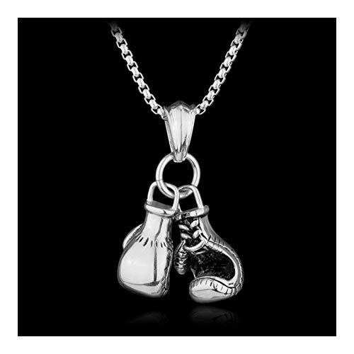 Mode Sporty Boxhandschuhe Mann Schmuck Halskette Personality-Zink-Legierung-Verbindungs-Ketten-Pair-Boxhandschuh Charm Zubehör (Metal Color : Silver)