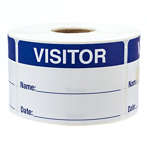 500 Visitor Pass/Blue and White Identification Stickers/Easy to Write On Labels