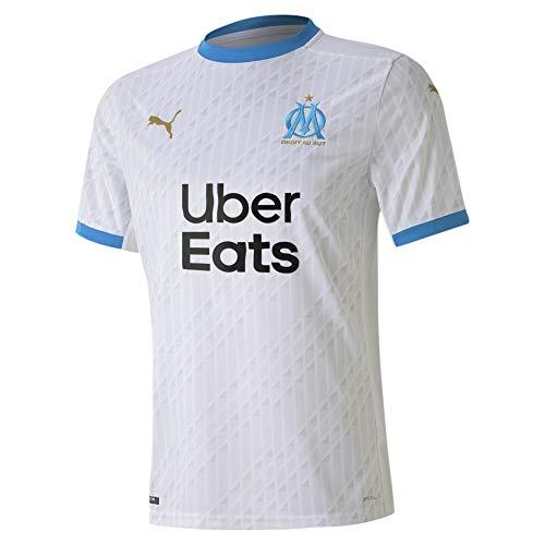 PUMA Om Home Shirt Replica with Sponsor T-Shirt Homme Puma White/Bleu Azur FR : L (Taille Fabricant : L)