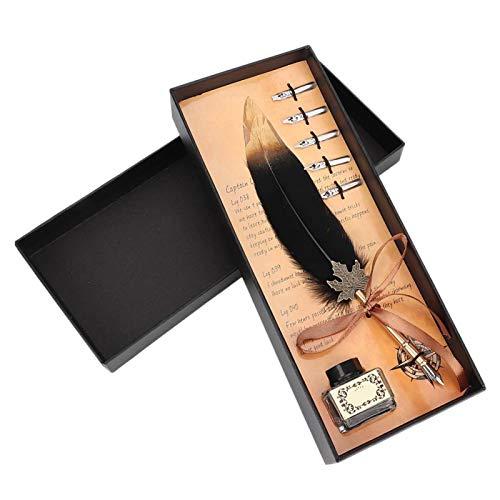 Okuyonic Juego de Plumas Vintage, Caja de Regalo de papelería con Apariencia Vintage, Puntas de Acero Inoxidable Retro, Pluma de Escritura para Amigos(Black)