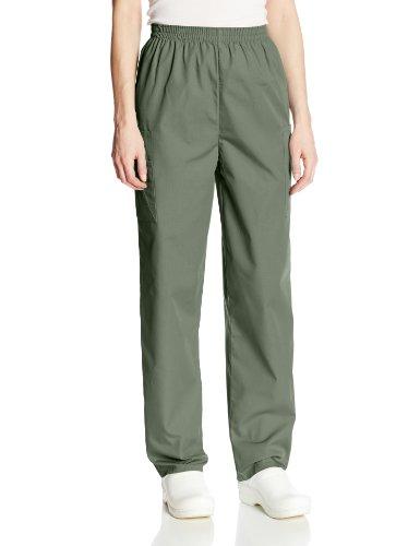 CHEROKEE Women's Workwear Elastic Waist Cargo Scrubs Pant, Olive, Medium Petite