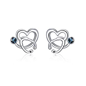 AOBOCO Sterling Silver Stethoscope Earrings Studs Heart Ear Stud Nurse Jewelry with Blue Crystal,Gift for Doctor Nurse Medical Student
