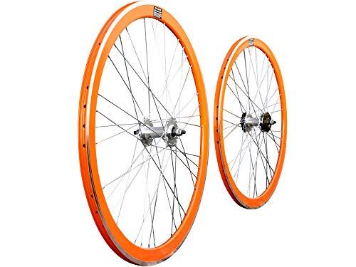 JABs Laufrad Paar 700c Singlespeed Fixed Gear Flip-Flop Felgenpaar Aluminium 43 mm Tellerfelgen Vorderrad + Hinterrad Eingang (Orange)