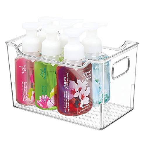 mDesign Cajas de plástico con asas – Organizador transparente con diseño atractivo – Cajas organizadoras para guardar cosméticos en el baño – transparente