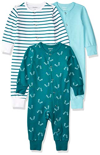 Hanes Ultimate Baby Flexy 3 Pack Sleep and Play Suits, Green/Blue, 12-18 Months