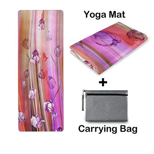 UMIRIKO Esterilla de yoga de viaje, esterilla de yoga al aire libre, toalla antideslizante, plegable, ligera, pilates, fitness, ejercicio, con bolsa de transporte para mujeres, flores, tulipán 2020999