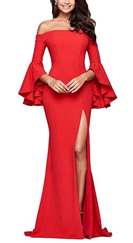 Minetom Damen Elegante Trompete Ärmel Schulterfrei Lang Maxi Kleid Einfarbig Spliss Festlich Hochzeit Abendkleid Cocktailkleid Partykleid Rot DE 36