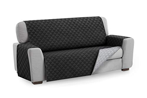Textilhome - Funda Cubre Sofá Malu, 4 Plazas, Protector para Sofás Acolchado Reversible. Color Negro