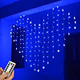 WONFAST Heart Shape Curtain Lights, USB Powered 34Hearts 128LED Window Curtain Fairy String Lights with Remote Control Twinkle Lights for Christmas Wedding Party Valentine Room Decoration (Blue)