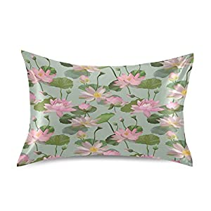 """Qilmy Pillowcase for Hair and Skin Silk Pillowcase,Lotus Flower Soft and Breathable Slippery Satin Pillowcase Covers for Sleep Decoration Standard Size 20""""×26"""""""