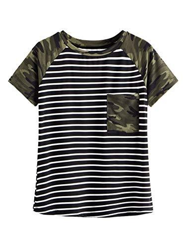 Romwe Women's Camo Print Short Sleeve Tops Striped Casual Blouses T Shirt Camo Large