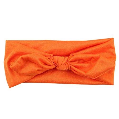 Hair Accessories, Kolylong® Femmes Yoga éLastique Bow Hairband Turban Noué Lapin Band Cheveux Bandeau (Orange)