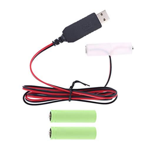 GASSDINER Cable Adaptador de Fuente de alimentación USB de batería LR6 AA de 300 cm Reemplace de 1 a 4 Pilas AA