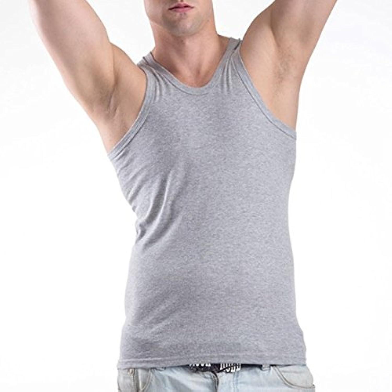 Ccoco Men Basic SingletフィットタンクトップO-Neckノースリーブベストスポーツグレーサイズ:XXL-grey-XXL