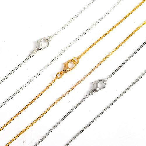 QA 12pcs Gold Argent Couleur 40cm Croix Plat Collier de chaîne O pour Femmes Collier Simple Bijoux Chantes de Fabrication de Bijoux Y901 (Length : 40cm, Metal Color : Gold-Color)