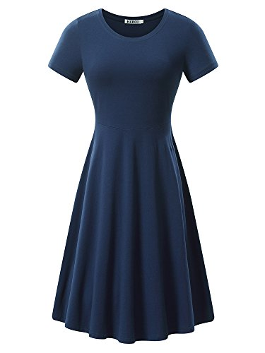 HUHOT Women Short Sleeve Round Neck Summer Casual Flared Midi Dress (Medium, Navy)
