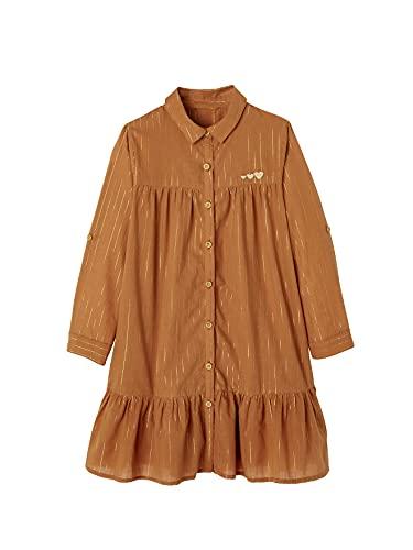 Vertbaudet - Vestido de camisa con hilo brillante, Azulejos tinta, 10-11 Años