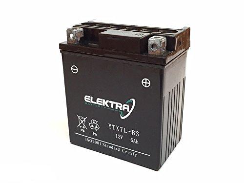 Batería Elektra YTX7L-BS para Honda CBF (MC35A) 250desde 2004hasta2007,12V, 6Ah, con ácido. Código: 246610060