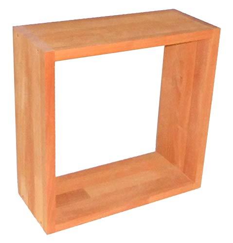 Hübscher Dekowürfel aus Buchenholz, geölt, Wandregal, Hängeregal, Hängewürfel zur Dekoration, 38x38x16cm, echtes Holz