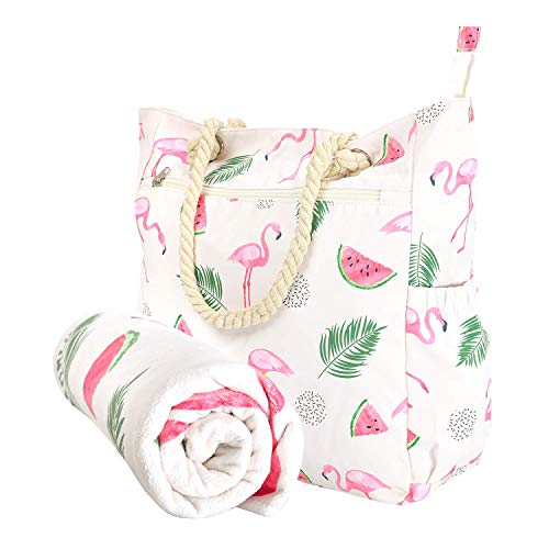 Beach Bag Spacious Shoulder Tote Travel & Gym Bag w/Multiple Pockets & Strong Zipper (Flamingo)