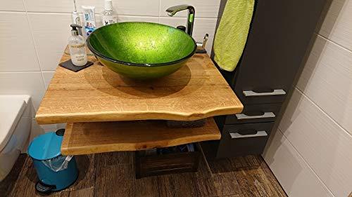Waschtischplatte Eiche massiv Baumkante geölt Holz Aufsatzwaschtisch (80 x 35 cm)