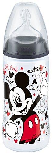 NUK 10216123 Disney Mickey First Choice+ Biberon in polipropilene, 300 ml, con tettarella anticolica in silicone, Misura 2 M, dai 6-18 Mesi, per latte, Rosso