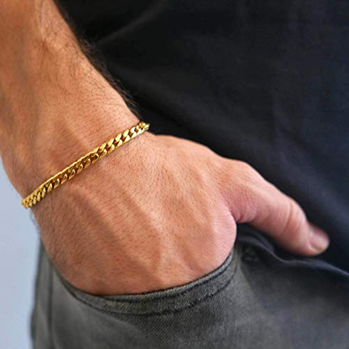 """Handmade Cuff Chain Bracelet For Men Made Of Gold Plated Over Stainless Steel By Galis Jewelry - Gold Bracelet For Men - Cuff bracelet For men - Jewelry For Men - FITS 7""""-7.75"""" WRIST SIZE"""