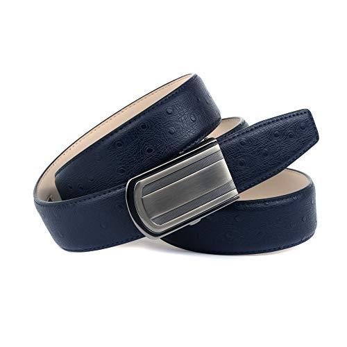 Anthoni Crown Ledergürtel Cintura, Blu Scuro, 120 cm Uomo