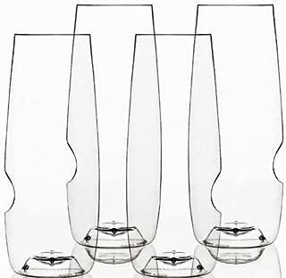Govino 8 Ounce Dishwasher Safe Series Flute Glasses,ChampagneSet of 4