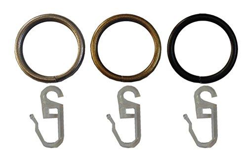Garduna 100 GARDINENRINGE | Messing-antik | Set à 100 Stück | Metall - mit Faltenhaken | für Ø16 & Ø20mm Ringe für Gardinenstangen
