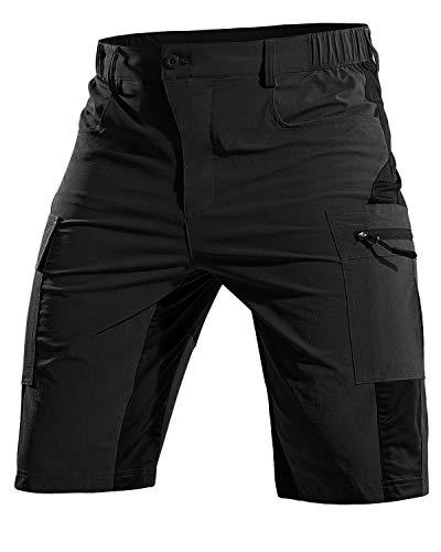 Cycorld MTB Hose Herren Kurz, Atmungsaktiv Mountainbike Hose Herren MTB Shorts Schnelltrocknende Fahrradhose Mountainbike Shorts Bike Shorts Radlerhose (Schwarz, L)