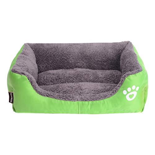 Yowablo Hundehütte Haustierbett Hundecouch Puppy Cushion House weiche warme Hundehütte Mat Blanket (80 * 65 * 17cm,Grün)
