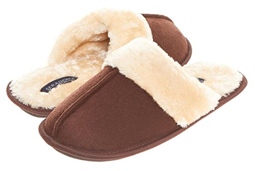 Seranoma Scuff Slippers for Women: Warm Cozy Faux Fur Ladies' House Shoes| Super Comfy FluffyWinter Slip On Women's Indoor Slippers in Assorted Colors| Nonslip, Washable & Sturdy Brown