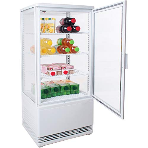 ZORRO - Kühlvitrine weiß Kuchenvitrine Gastro - 80 Liter - R600A - 4-Seitig Doppelverglast