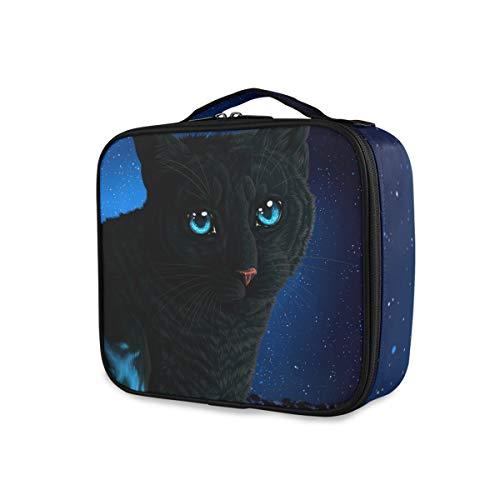 Portable pour les femmes fille cosmétique Box Imprimer sac de maquillage professionnel multifonction avec réglable compartiments chats Art Night Glance