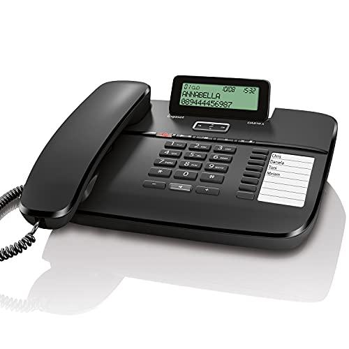 Gigaset DA810A - Schnurgebundenes Telefon mit Anrufbeantworter und Freisprechfunktion - klappbares Display - Anruferanzeige (CLIP) - lange Aufnahmezeit - Telefonbuch für 99 Kontakte, schwarz