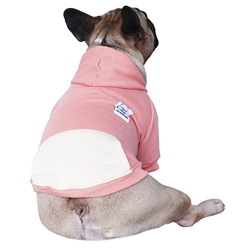 iChoue Pet Clothes Dog Hoodie Hooded Full-Zip Sweatshirt French Bulldog Pug Boston Terrier Cotton Winter Warm Coat Clothing - Pink/Size L