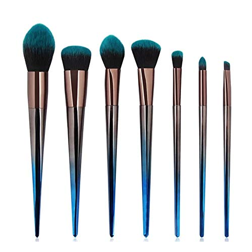 Lot de 7 pinceaux de maquillage Kabuki pour fond de teint, fard à paupières, kit cadeau noir et vert