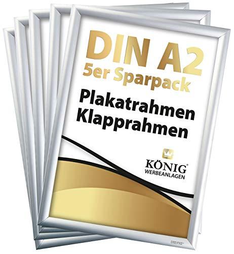5 Plakatrahmen DIN A2 | 25mm Aluminium Profil, Silber | inkl. entspiegelter Schutzscheibe und Befestigungsmaterial | Alu Klapprahmen Wechselrahmen Posterrahmen | 5er Sparpack | Dreifke®