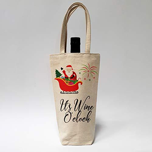 Premium Wine Spirit Geschenktüte, umweltfreundlich, 100% Baumwolle, lustige Zitate Weihnachten 2018 Weihnachten 10 x 27 x 8 cm It's Wine O'clock