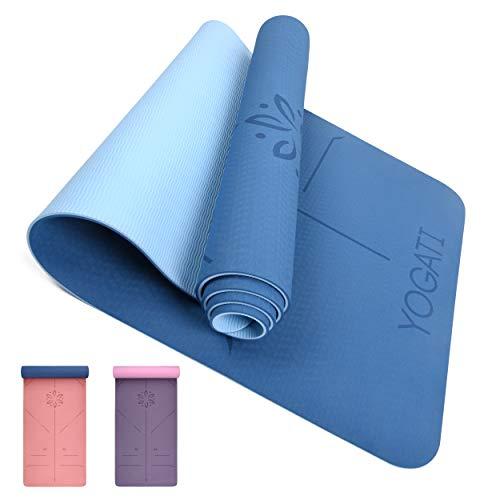 YOGATI - Tapis de Yoga Antidérapant, Epais, Ecologique et Non Toxique en TPE avec des repères d'alignement du Corps. Un Tapis Yoga Parfait pour Sport au Sol, Gym et Fitness - Yoga Mat