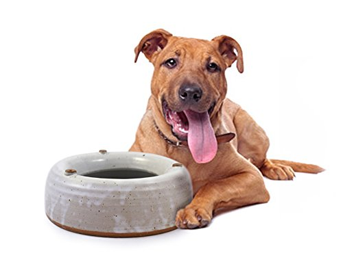 Modern Artisans American Made Heavy-Weight Splash-Free Stoneware Water Bowl for Dogs (Large 48oz)