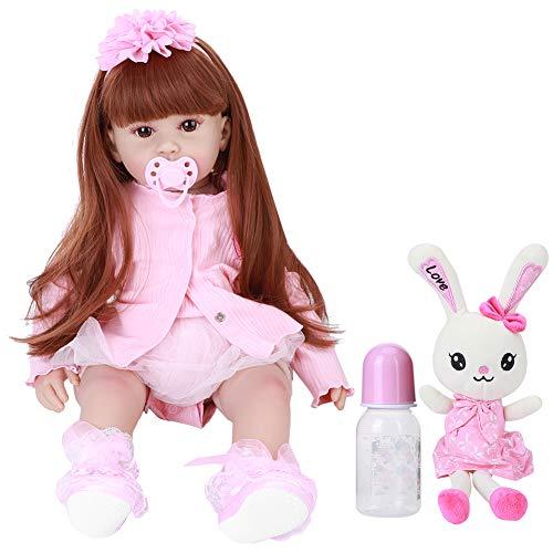 Boneca Reborn Baby de 61 cm, vinil de silicone realista, flexível, com peso total, macio, realista, boneca Reborn Girl com vestido rosa e acessórios de brinquedo para meninas de 3 anos, presentes/brinquedos (1#)