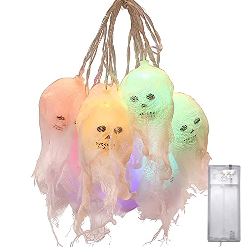 jadlahf Halloween Decoration Skull Lamp-2.5 Meters 10 LED Hanging Lights Decoration Suitable for Party Courtyard Indoor and Outdoor Colored Lights, Battery-powered, Waterproof and Waterproof Function
