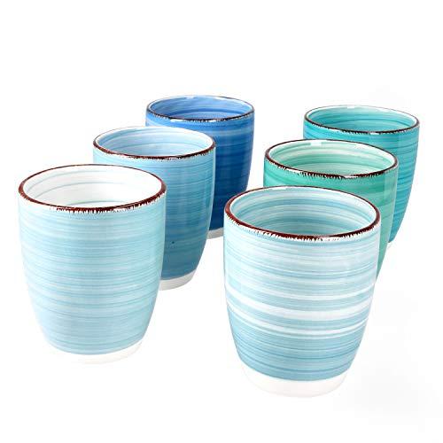 MamboCat Blue Baita 6-er Kaffee-Becher-Set blau I Steingut-Tasse groß mit Strudel-Dekor - in maritimen Blautönen I tolle Jumbo-Tee-Tasse - Tea & Coffee Mug I 300 ml Kaffee-Tassen-Set groß 6 Stück