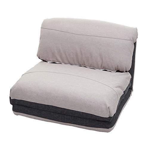 Mendler Schlafsessel HWC-E68, Schlafsofa Funktionssessel Klappsessel Relaxsessel, Stoff/Textil - dunkelgrau/hellgrau